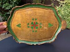 Antique Italian Florentine Wooden Tole Serving Tray Hand Painted Green Gold Gilt