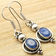 925 Silver Plated Simulated SAPPHIRE Gift Idea ART Earrings Jewelry INDIA