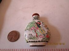 Vintage Asian / Chinese Snuff Bottle Cloisonne Enamel mountain geisha