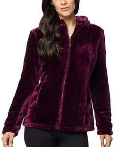 NWT 32 Degrees Heat Women's Hooded Plush Faux Fur Fleece Jacket.