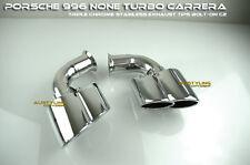 99-03 996 none Turbo dual exhaust tips 911 Porsche Chrome Carrera Stainless C2