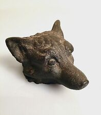 Antique Cast Iron Wolf Fox Head Figurine Paperweight Sculpture FREE SHIPPING