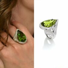 Margherita Burgener Pear 22.36CT Peridot With Pave Shiny 3.00CT CZ Leaves Ring