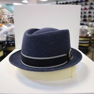 BORSALINO DENIM BLUE TRILBY FUR FELT FEDORA DRESS HAT *READ BELOW 4 SIZE*