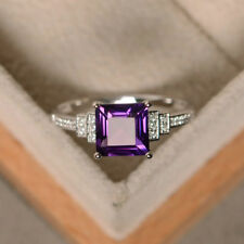 1.90 Ct Diamond Gemstone Ring Solid 14K White Gold Amethyst Band Size K M N