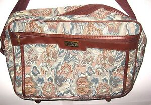 Holiday Carry On Luggage Bag Floral Print Brown Canvas 14 Inches