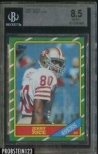 1986 Topps #161 Jerry Rice San Francisco 49ers RC Rookie BGS 8.5 NM+ HOF