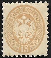 Lombardy-Venetia 1863 #24 15s Yellow-Brown Mint Hinged OG CV $1,250