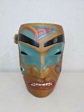 More details for native american portrait mask tribal ceremonial 15cm wood effect possibly resin