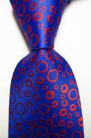 New Classic Polka Dot Blue Red JACQUARD WOVEN Silk Men's Tie Necktie