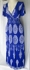Womens Stretchy Knit Boho Maxi Dress Size  M L Blue White Short Sleeves Julia