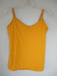 Old Navy Intimates Women's Size M Solid Yellow Cotton Camisole w/ Shelf Bra