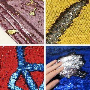 Reversible Fabric Sequin Flip Shiny Two Tone Mermaid Craft Material Cloth Decor