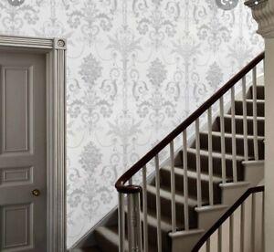 Laura Ashley Wallpaper Josette White/Steel 3 Rolls