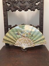New listing Antique Hand Painted Ornate Mother Of Pearl Hand Fan