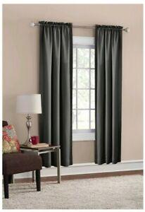 """2 NWOT Mainstays Room Darkening Rod Pocket Curtain Panels solid gray 30"""" x 84"""""""
