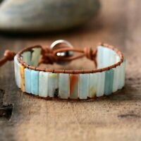 Bohemia Amazonite Vintage Leather Semi Precious Stone Beaded Wrap Cuff Bracelet