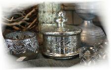Nostalgische Glas-schale Metall Antik Shabby chic Bonboniere Deko Silber