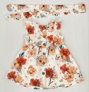 size 3-6m to 12-18m new baby girls dress coral orange floral dress & headband