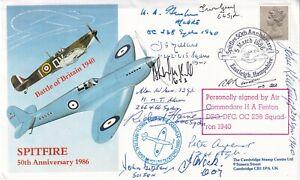 Spitfire Cover Signed Pilot 12 Battle of Britain pilot