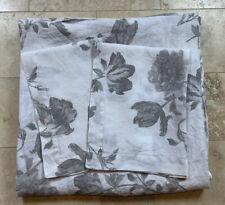 PURE LUXURY LINEN Vintage Washed Linen Duvet 3 Pc Set Queen Gray Floral On White