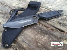 """9.5"""" TACTICAL FIXED BLADE Hunting Knife Black w/ WRENCH + HEX TOOL FIRE STARTER"""