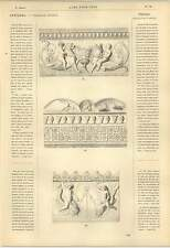 1863 Grecian Friezes Mask Of Silenus Chain Panthers Children Riding Dolphins Art