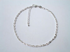 925 Sterling Silver Plated Flat Box Chained Anklet KPAN5 29cm Total  GIFT BOX