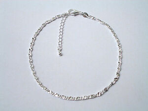 Anklet 925 Sterling Silver Plate Flat Box Chained Anklet 25cm KPAN5