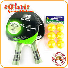 SUNFLEX 2 Player Table Tennis Set with 2 x TRAINER Hobby Bats + 6 x 40mm Balls