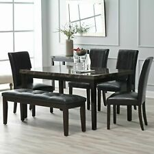 Milano Dining Table Deluxe Furniture Wood Frame 4-6 Seats Family Kitchen Marble