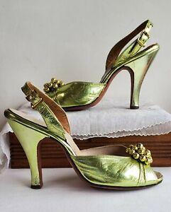 Vintage 50s TROYLINGS STYED BY SEYMORE TROY sling back peep toe heel green 4.5 5