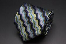MISSONI Target Silk Tie. Blue Green & Gray Whimsical Stripes.