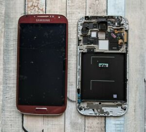 Samsung Galaxy S4 SM-i9505 RED Lcd Display Touch Screen Digitiser Frame