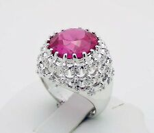 C^A Canada White & Faceted Pink CZ Ring in Sterling Silver Size 7