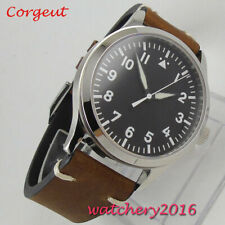 42mm Corgeut black sterile dial Sapphire leather MIYOTA Automatic mens Watch