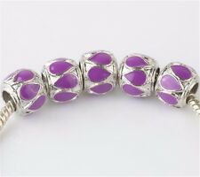 5pcs silver fit crystal spacer beads for European Charm Bracelet