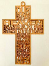 Our Father Cross Silhouette Wall Hanging Mdf 23cm /Favors /Gift/ Baptism/Wedding