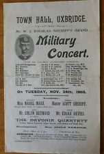 Old 1903 Military Band Concert Programme Uxbridge Middlesex, Mabel Marx,Ephemera
