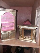 More details for gold dolls house fireplace cuboard dresser 1/12 1:12
