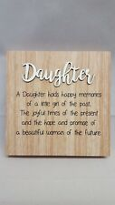 Daughter Wood Love Wishes Wooden Wall Hanging Freestanding Plaque Gift