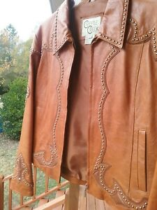 Cripple Creek Women's Leather Studded Jacket Brown Large