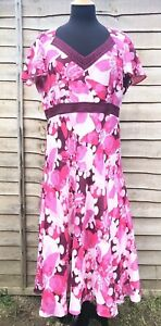 EAST Linen Silk Dress 16 44 Pink Floral Midi Empire Wedding Holidays Occasion
