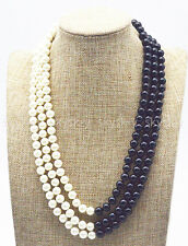 3 Rows 8mm Black & White South Sea Shell Pearl Beads Jewelry Necklace 20-23''