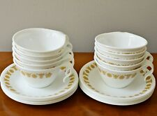 Vintage 10 Set CORELLE Cup & Saucer Hooked Handle Butterfly Gold Total 20 ps