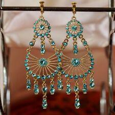 Boucles d'Oreilles Clips Pendante Grosse Chandelier Bleu Clair Mariage Cadeau B1