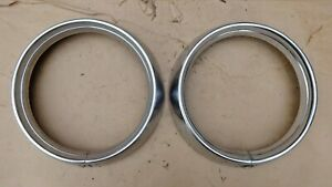 1955 Pontiac HEADLIGHT BEZELS / RINGS Original GM Stainless pair Guide