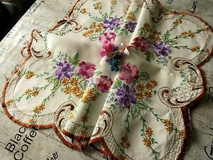 VINTAGE HAND EMBROIDERED TABLECLOTH=EXQUISITE FLOWERS & RAISED EMBROIDERY