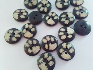 """10 Brown Dog Paw Buttons 15mm (5/8"""") Pawprint Dog Coats Pet Clothing Kids Crafts"""