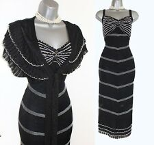 KAREN MILLEN Black Metallic Silver Crochet Beaded Dress & Bolero sz 3 UK 12 40